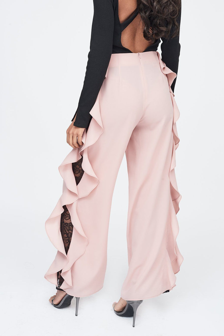 Lace Insert Wide Leg Trouser in Nude