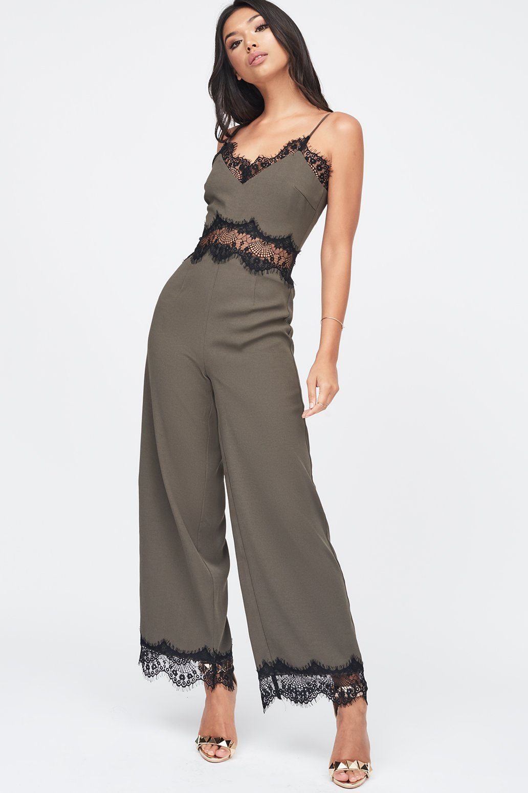 Lace Cami Jumpsuit in Khaki