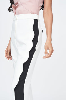 Scallop Contrast Trouser in White