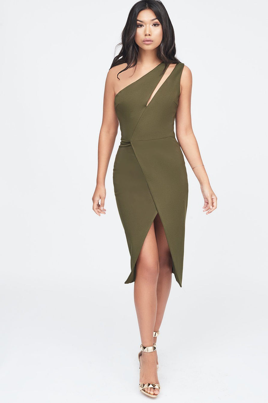 Cut Out Neck Wrap Midi Dress in Khaki