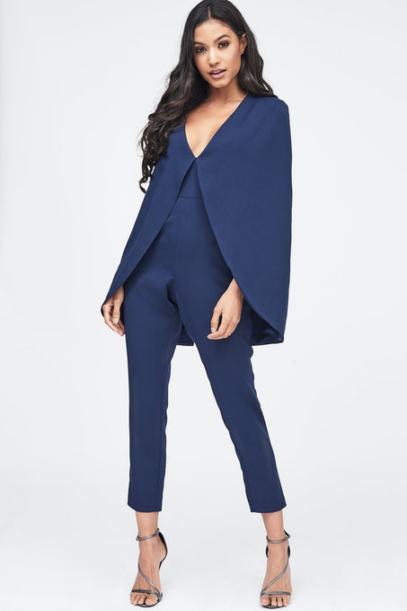Deep Plunge Cape Jumpsuit in Navy