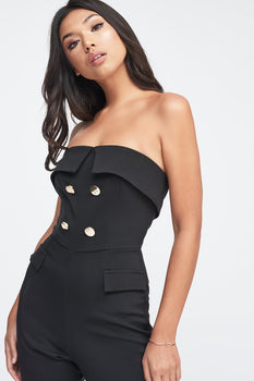 Strapless Tux Jumpsuit in Black