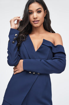 One Shoulder Tux Playsuit in Navy