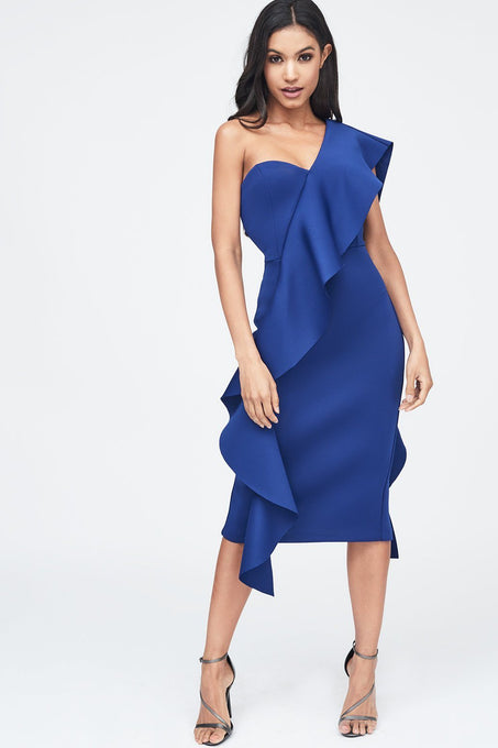Exaggerated Frill One Shoulder Scuba Midi Dress in Blue