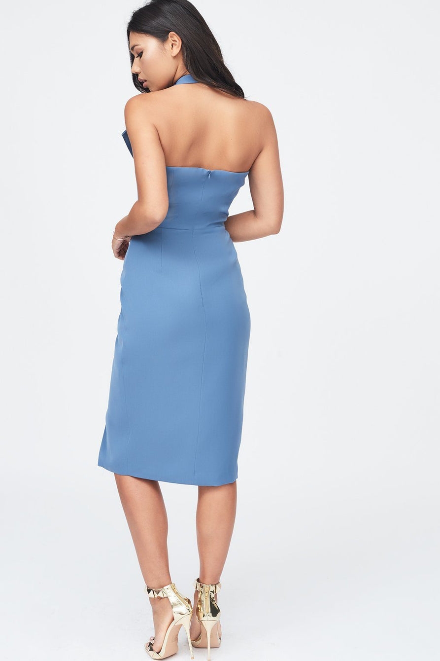 Halter Neck Wrap Front Midi Dress in Dusty Blue