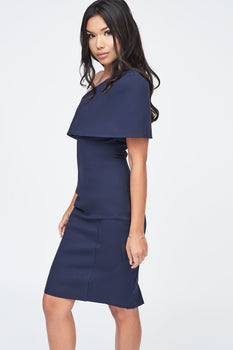 One Shoulder Cape Midi Dress in Navy