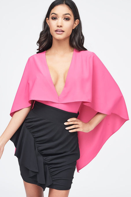 Deep Plunge Cape Bodysuit in Pink
