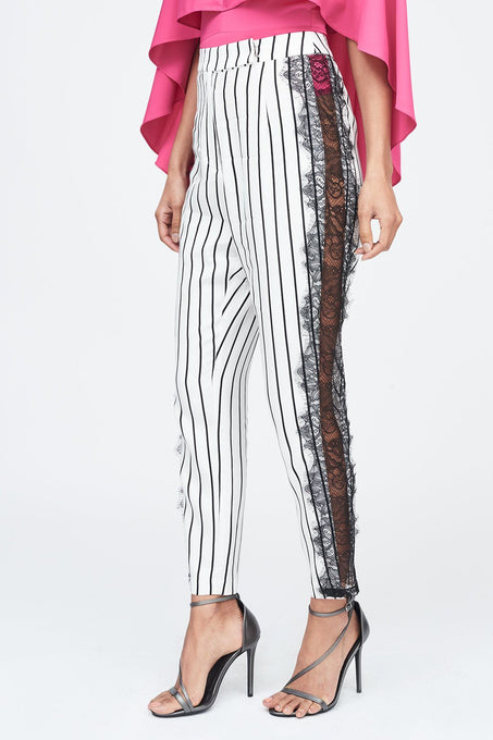Stripe Lace Insert Trouser