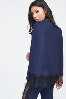 Lace Hem Cape in Navy