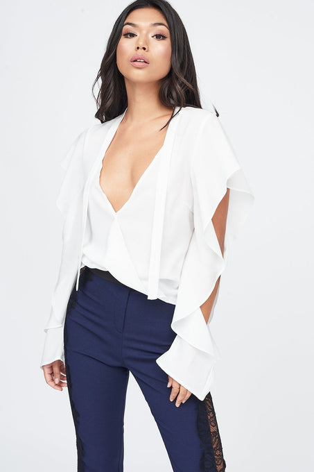 Wrap Ruffle Sleeve Blouse in White