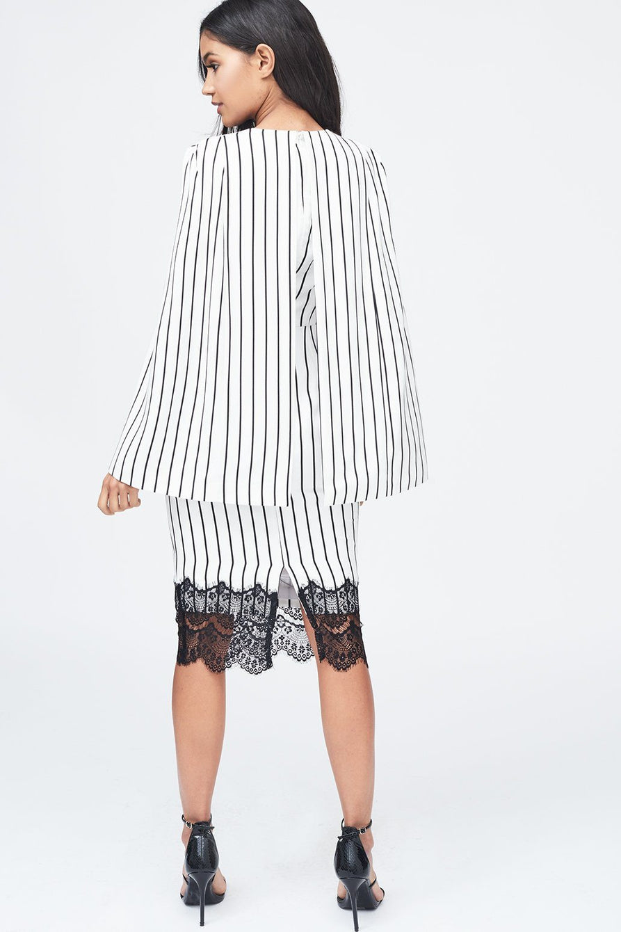 Stripe Lace Insert Cape Dress