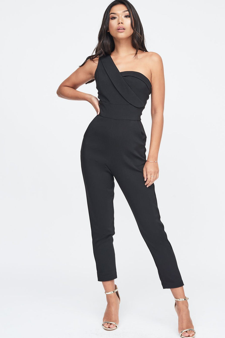 One Shoulder Bodice Jumpsuit in Black