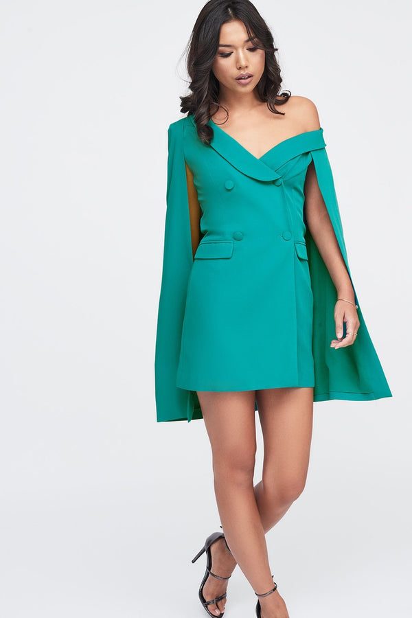 e7f40c3b063 Off The Shoulder Double Breasted Cape Blazer Dress in Jade Green ...