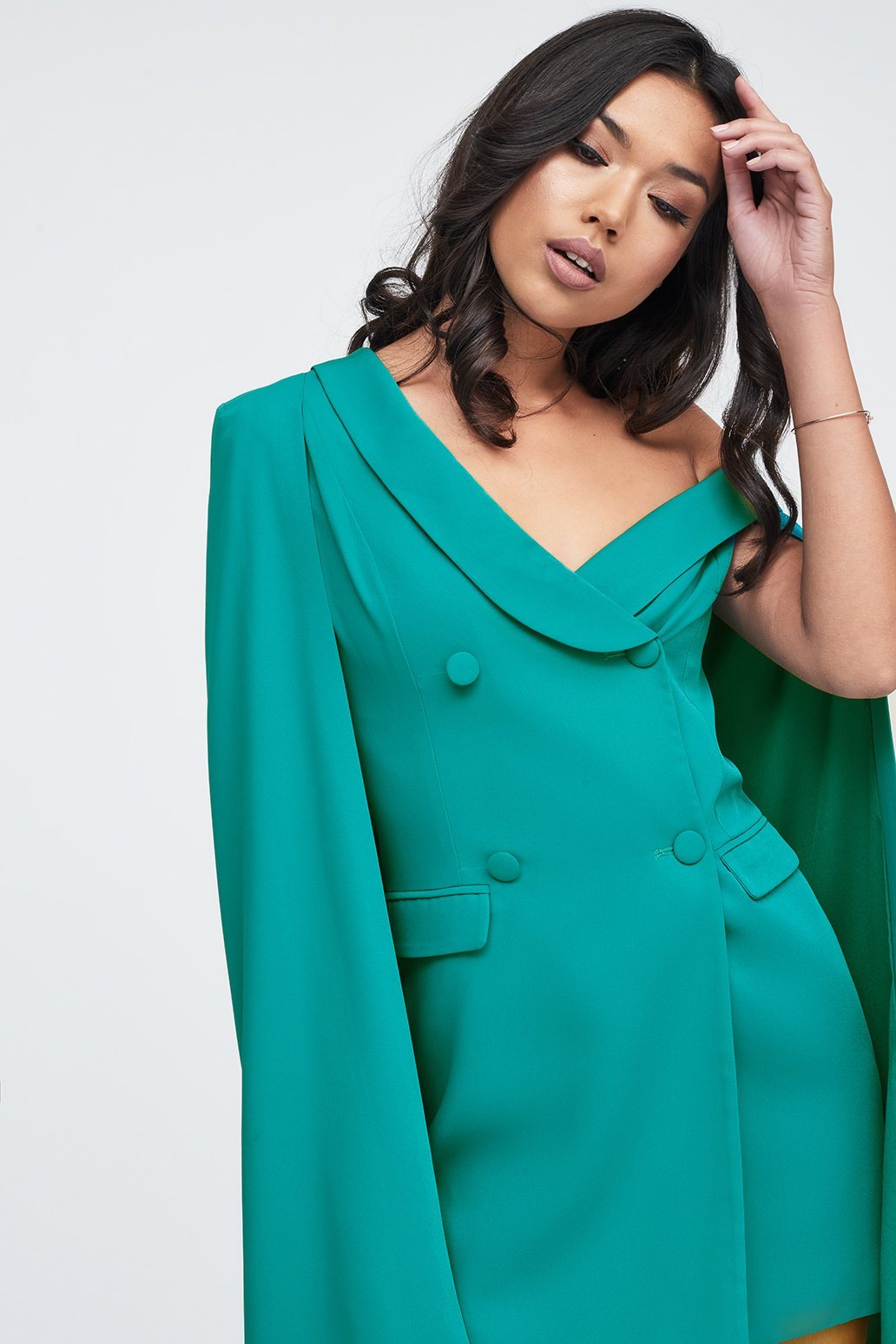 Off The Shoulder Double Breasted Cape Blazer Dress in Jade Green