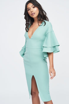 Exaggerated Double Frill Sleeve Woven Midi Dress in Sage