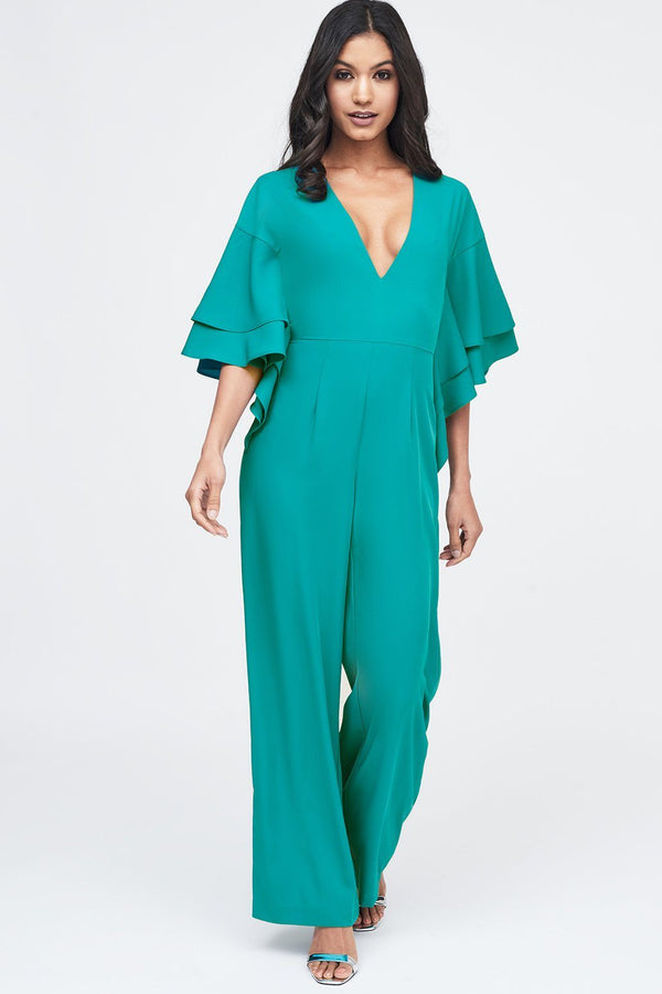 06e808bc602 ... Exaggerated Double Frill Sleeve Wide Leg Jumpsuit in Jade Green