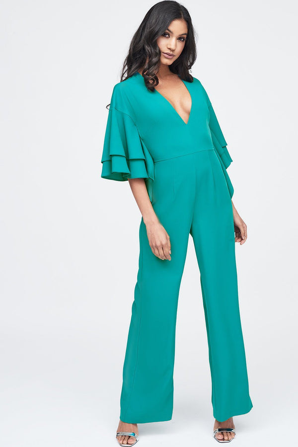 d400317ccc4 Exaggerated Double Frill Sleeve Wide Leg Jumpsuit in Jade Green ...