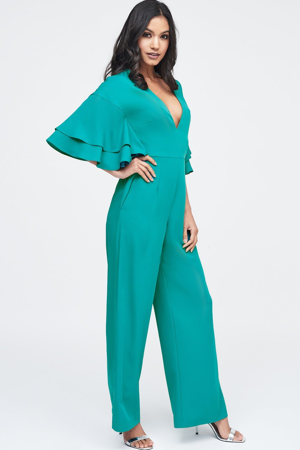 Exaggerated Double Frill Sleeve Wide Leg Jumpsuit in Jade Green