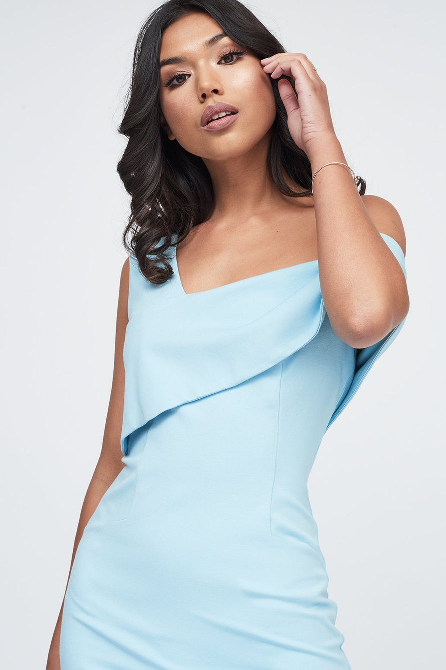 Double Layer Off The Shoulder Ponte Midi Dress in Cornflower Blue