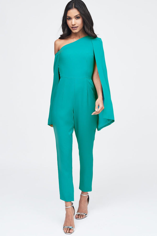 b6bb5cb8bc0 ... One Shoulder Cape Tailored Jumpsuit in Jade Green