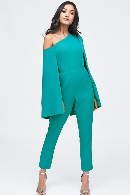 One Shoulder Cape Tailored Jumpsuit in Jade Green