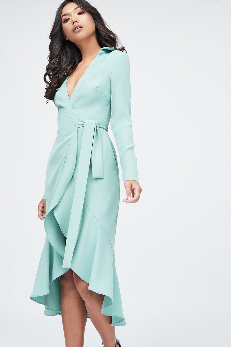 Frill Hem Wrap Front Shirt Dress in Sage