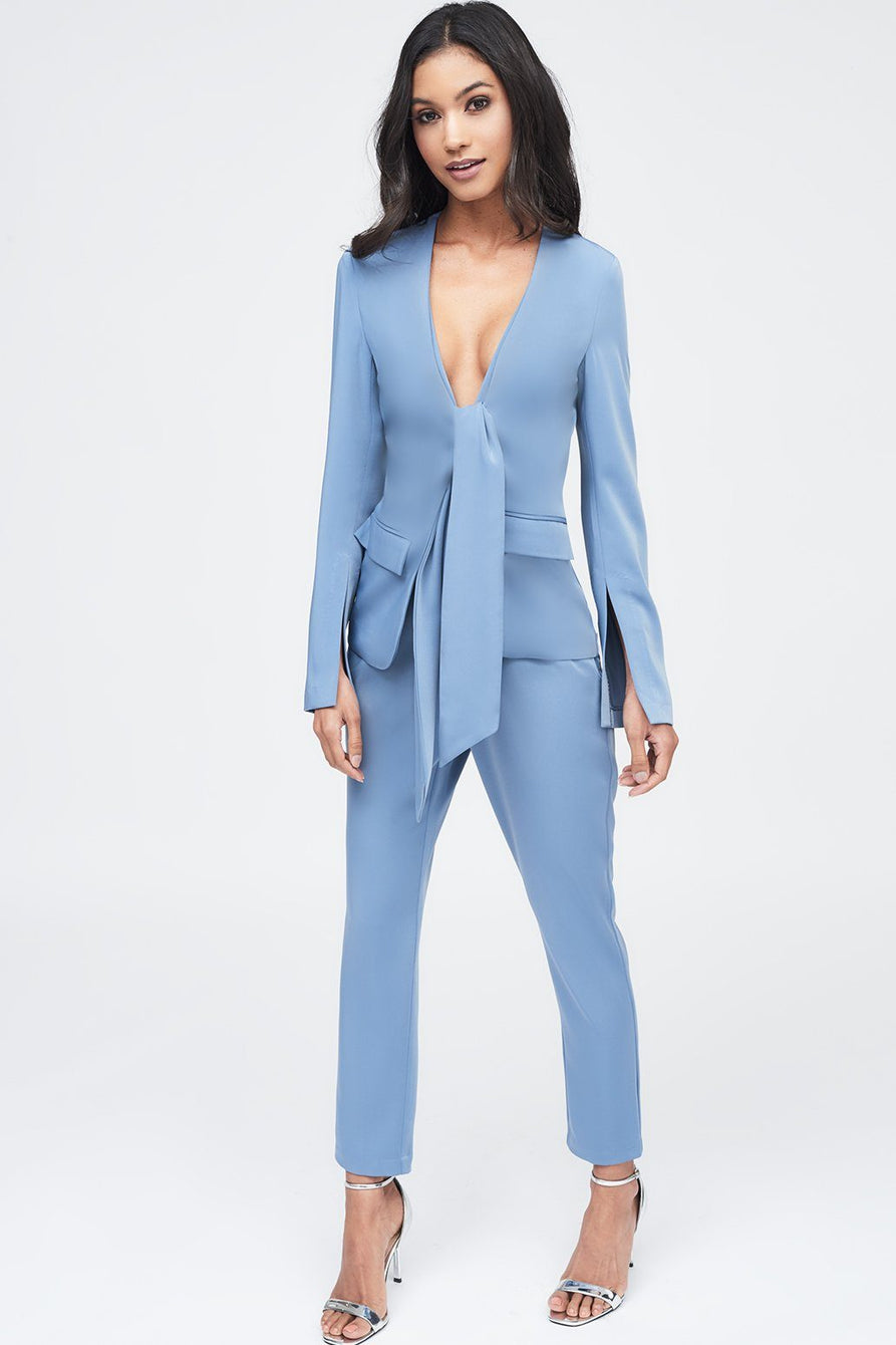 Tie Front Blazer Style Tailored Jumpsuit in Dusty Blue