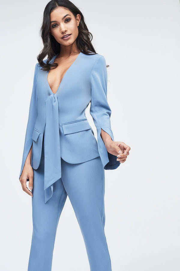 491788687c16 Tie Front Blazer Style Tailored Jumpsuit in Dusty Blue ...