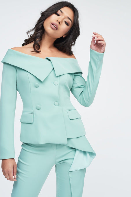 Off Shoulder Fitted Blazer in Sage