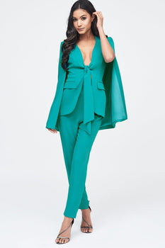Tie Front Fitted Cape Blazer in Jade Green