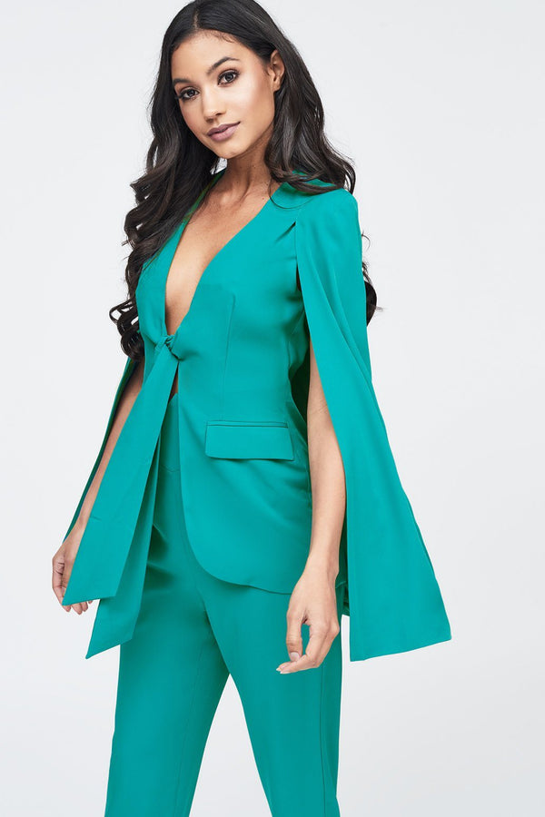 7d3b3cc1e801 Tie Front Fitted Cape Blazer in Jade Green ...
