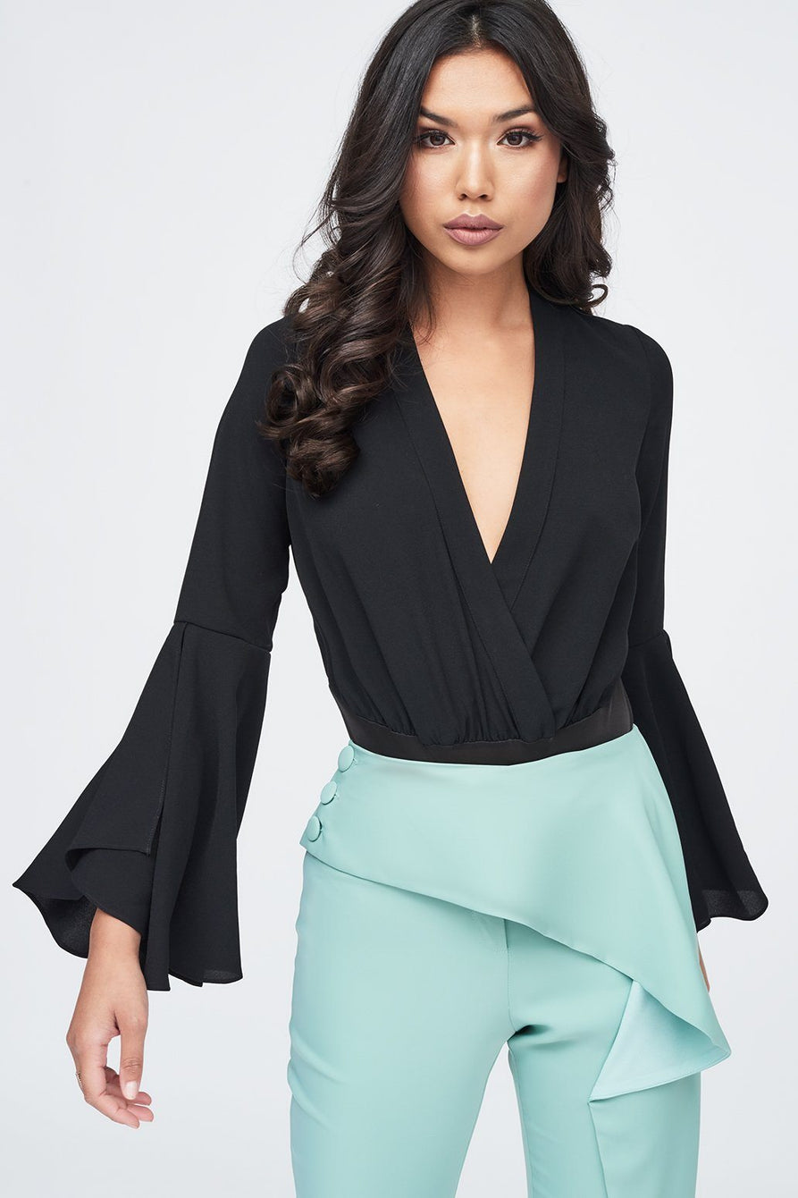 Frill Sleeve Blouse Bodysuit in Black