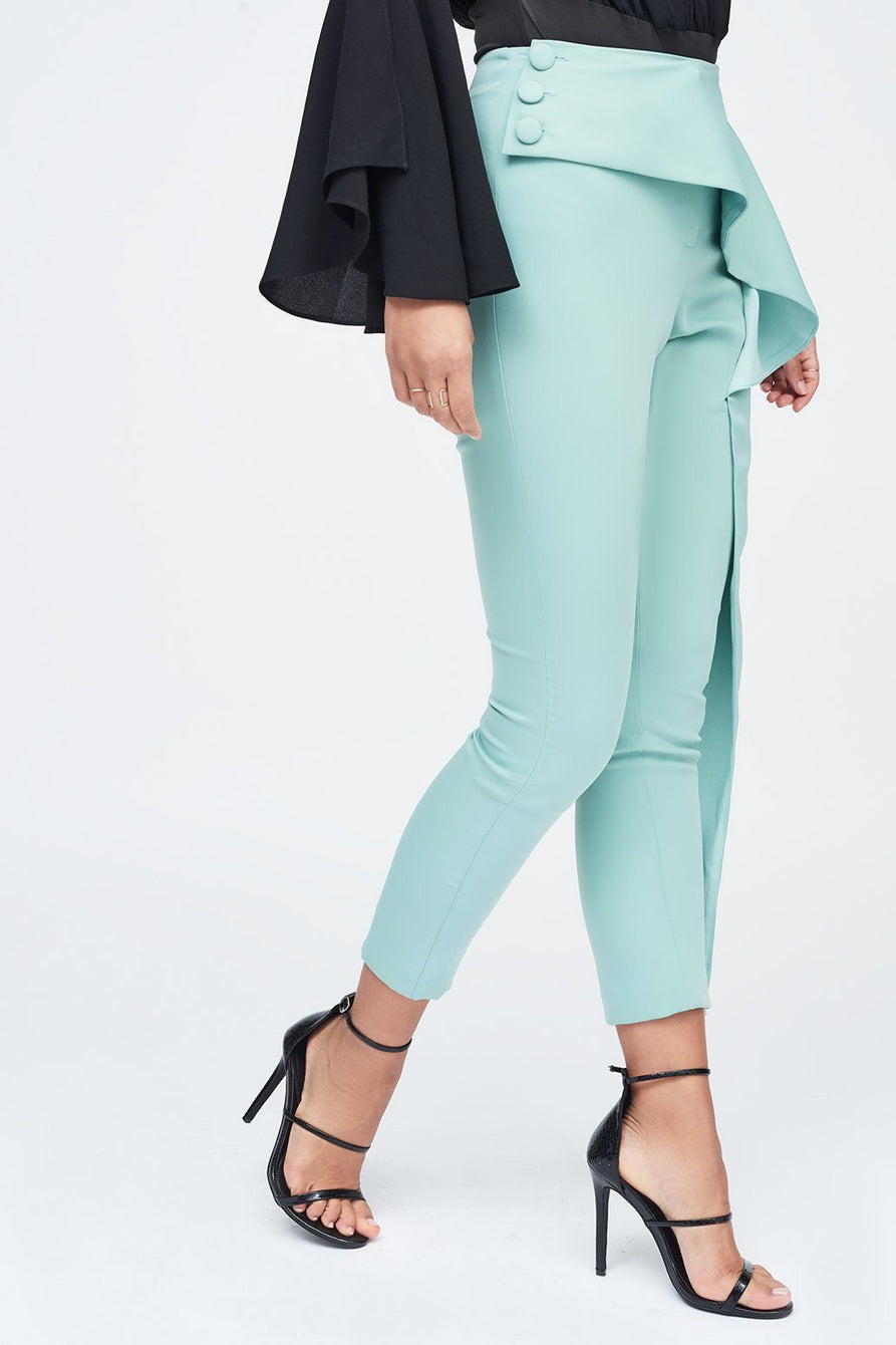 Folded Tapered Trouser in Sage