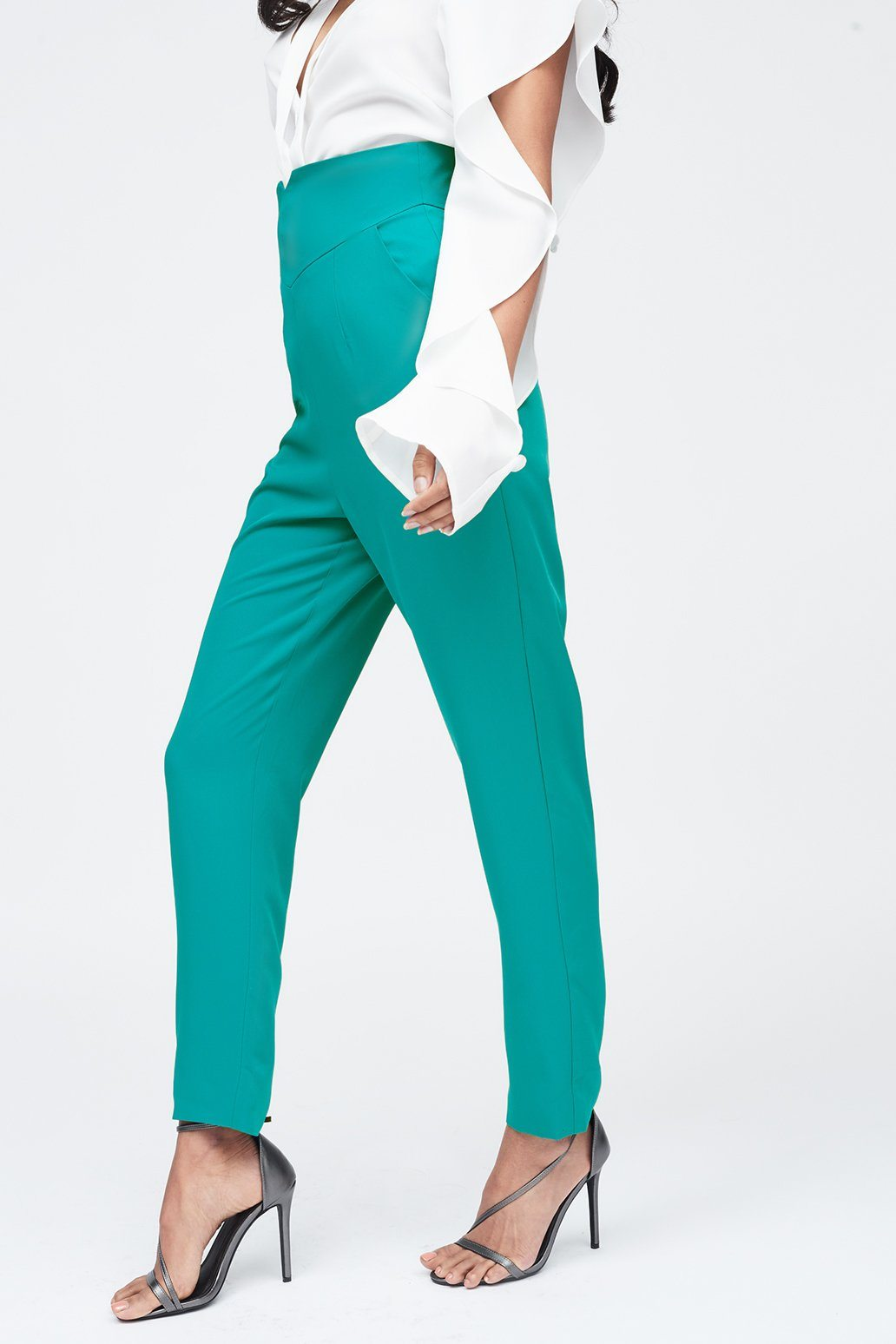 Notched Waistband Tailored Trouser in Jade Green