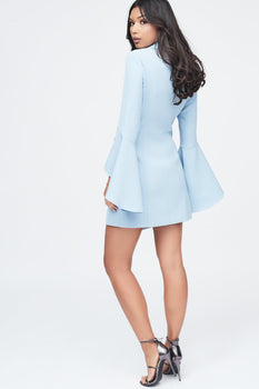 Bell Ruffle Sleeve Blazer Dress in Cornflower Blue