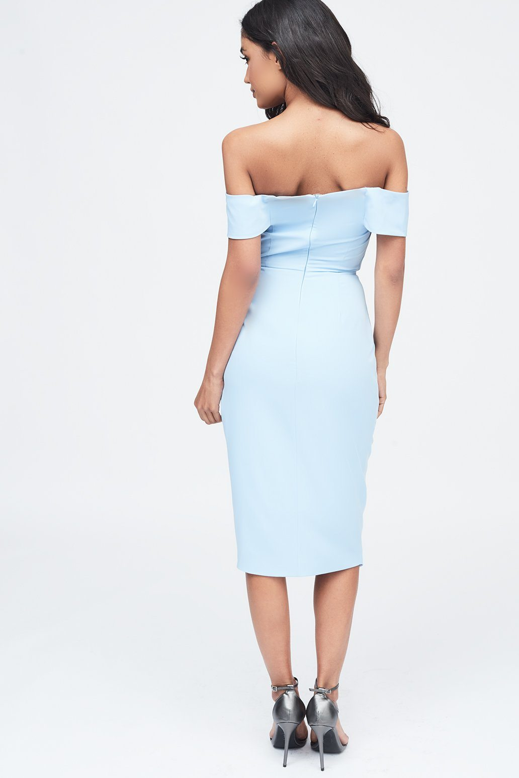 Woven Twist Bardot Midi Dress in Cornflower Blue