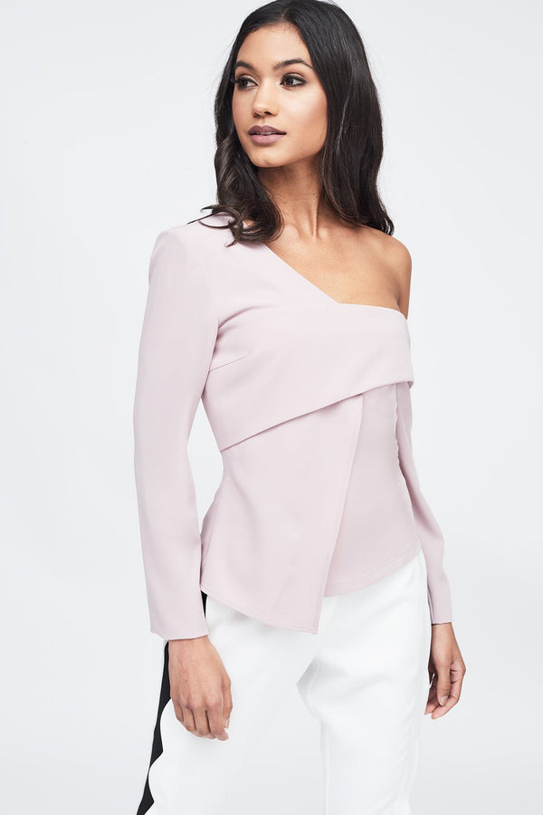 59151d8ae48ae8 Off The Shoulder Layered Top in Nude ...