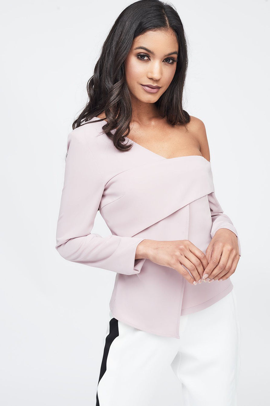 Off The Shoulder Layered Top in Nude