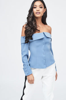 Bardot Fold Back Top in Dusty Blue