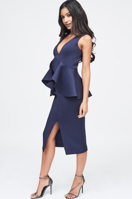 Scuba Peplum Ruffle Dress in Navy