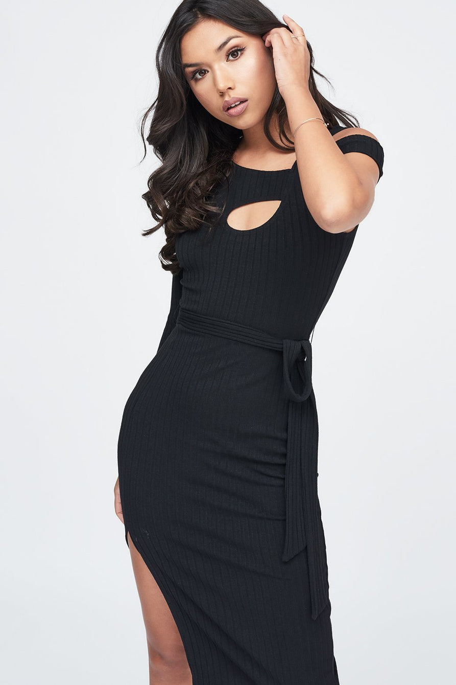 Cut Out Belted Knit Dress in Black