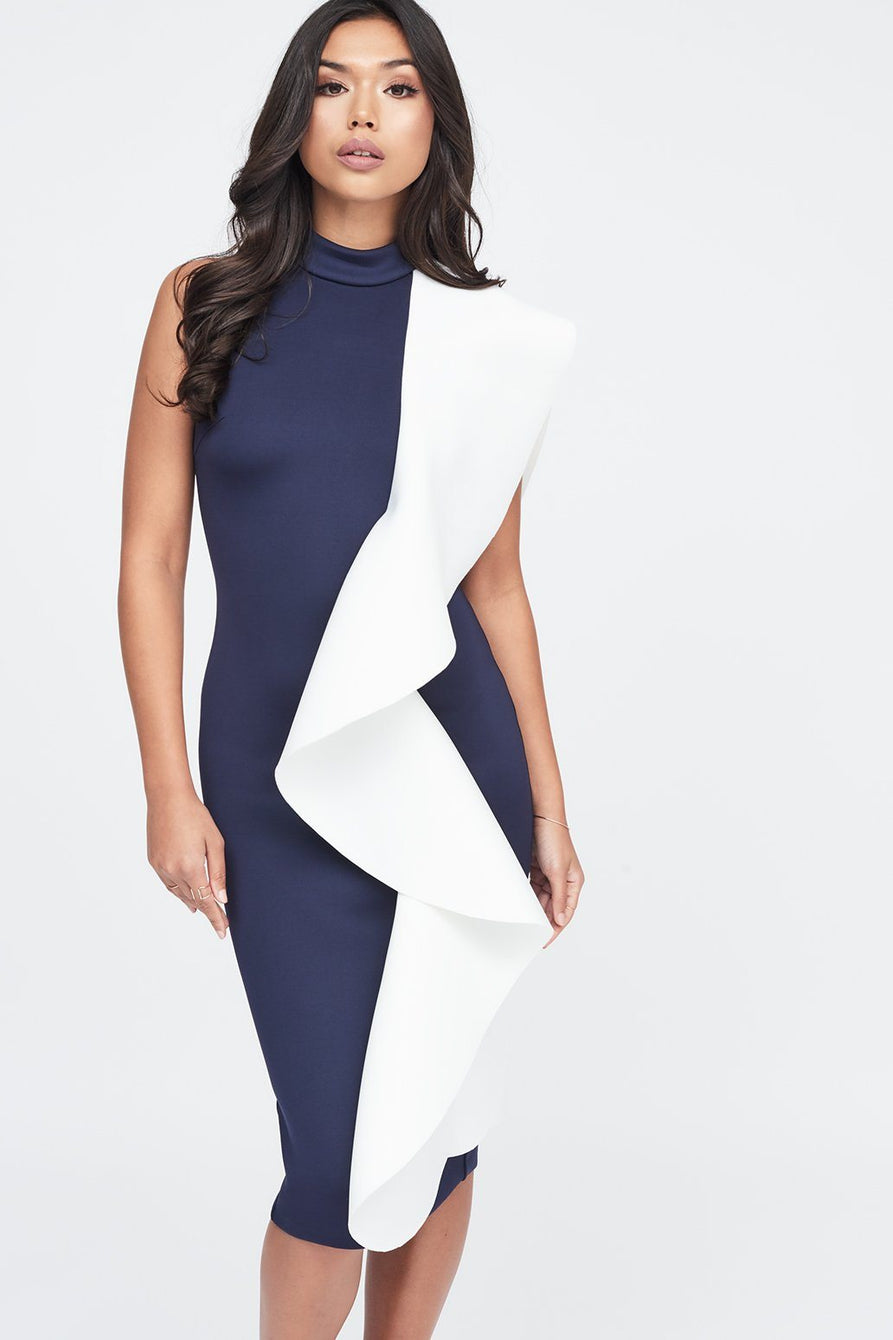 Contrast Scuba Frilled Midi Dress in Navy & White
