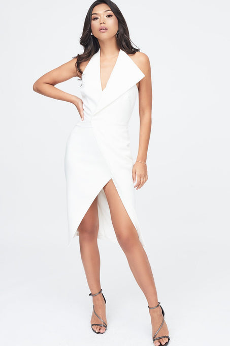 Oversized Collar Halter Midi Dress in White
