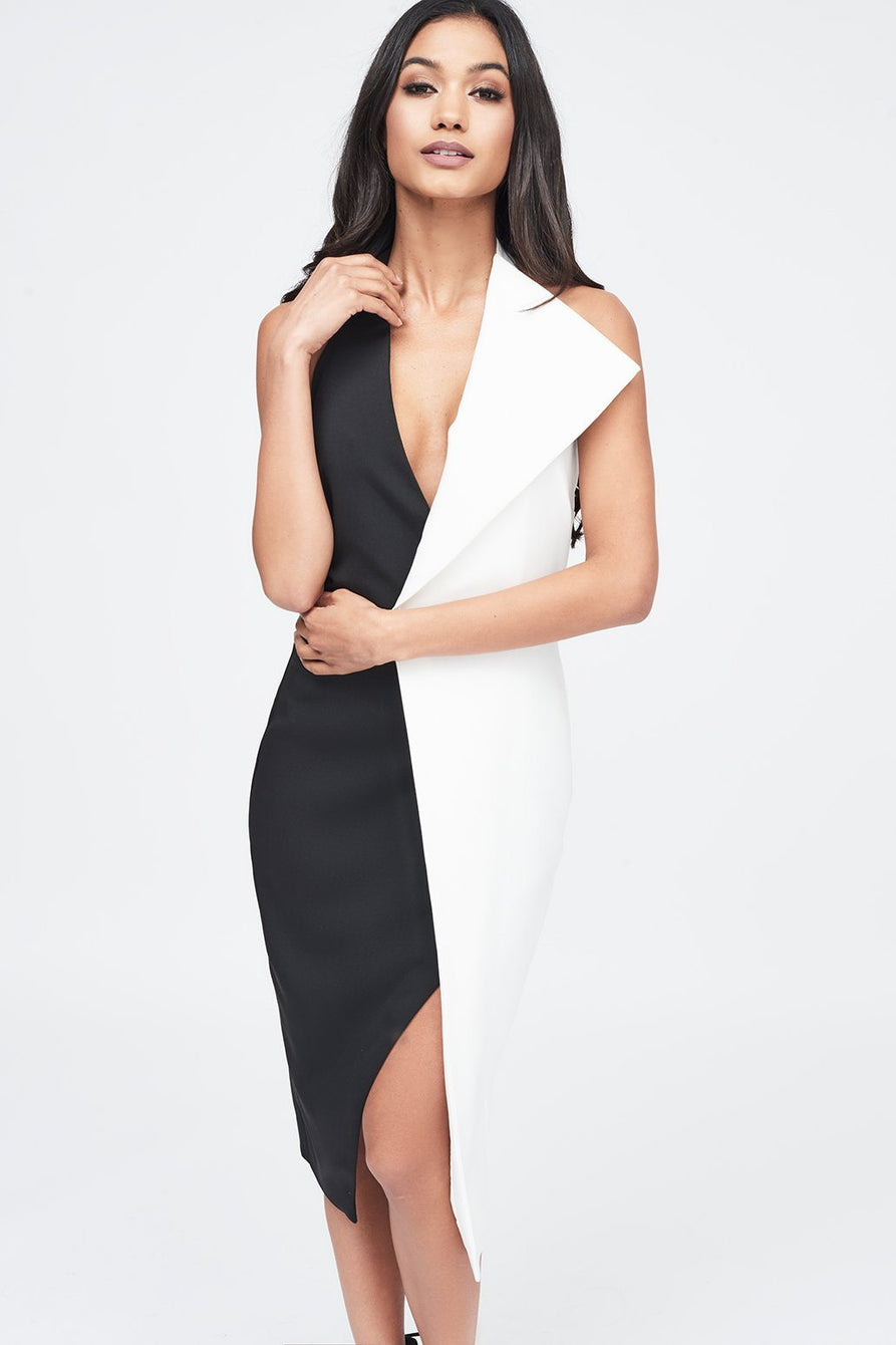 Contrast Oversized Collar Halter Midi Dress in Black and White
