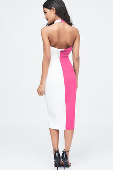 Contrast Oversized Collar Halter Midi Dress in Pink & White