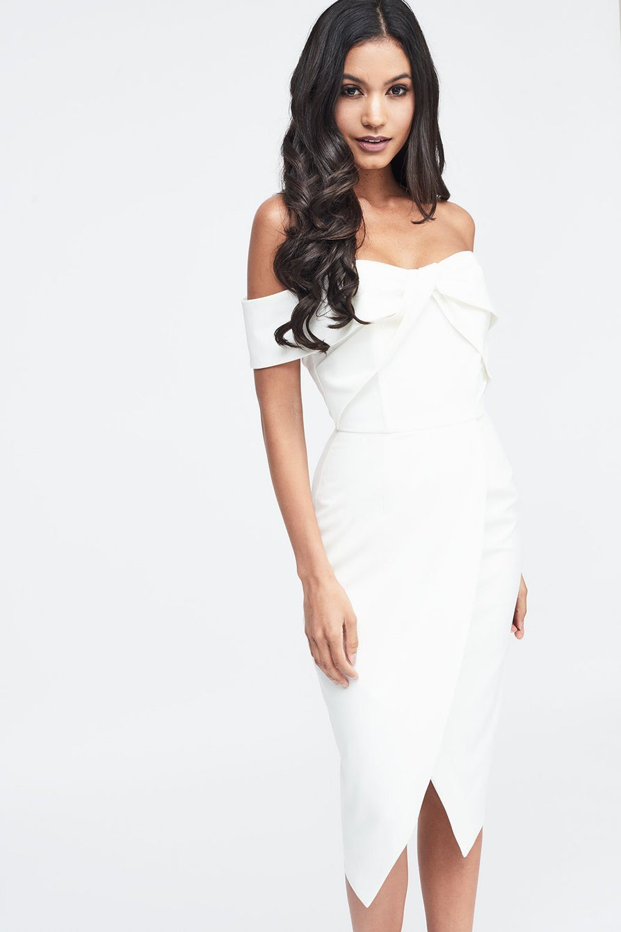 Woven Twist Bardot Midi Dress in White