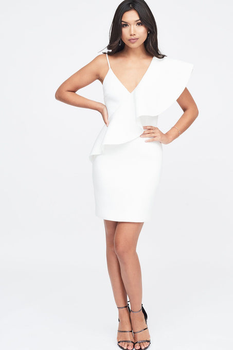 Exaggerated One Shoulder Frill Scuba Mini Dress in White