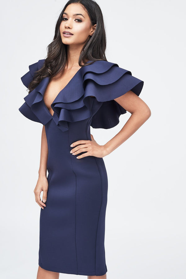 87d9b89651a Scuba Frill Midi Dress in Navy ...
