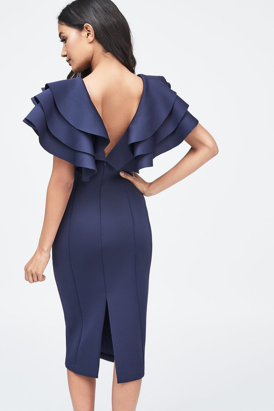 Scuba Frill Midi Dress in Navy