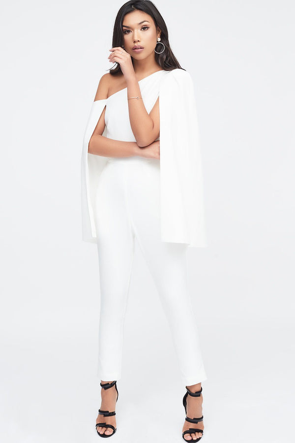 68b6211bb7bd One Shoulder Cape Jumpsuit in White ...